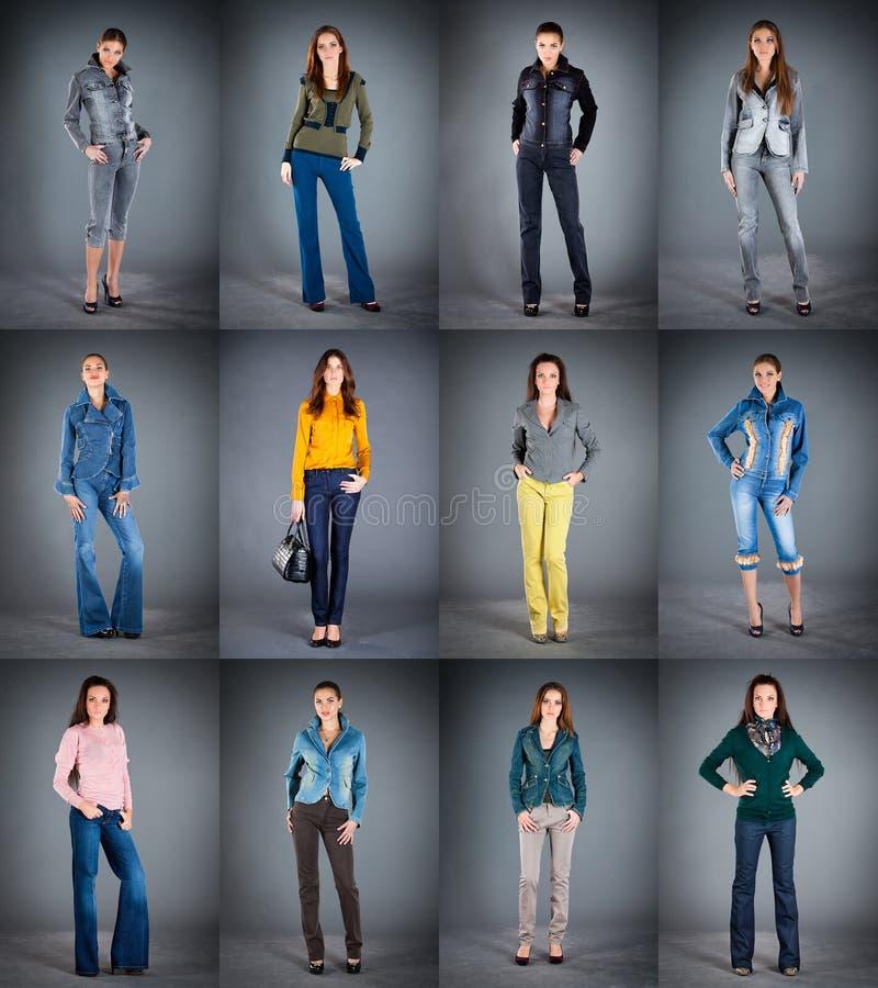 La ropa de la señora de la colección de los vaqueros imagen de archivo libre de regalías