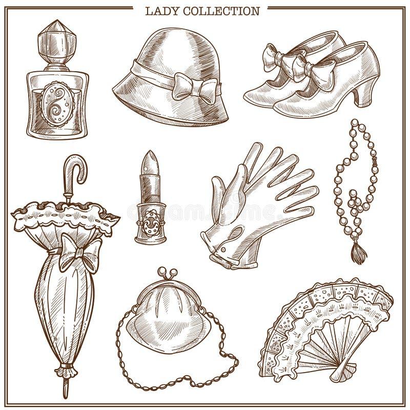 La ropa de la señora y los complementos retros del vintage de la mujer vector iconos del bosquejo ilustración del vector