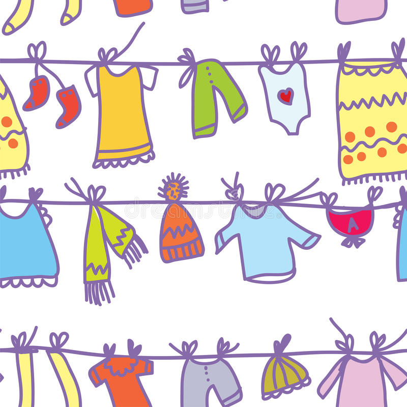 La ropa del bebé fijó el modelo inconsútil ilustración del vector