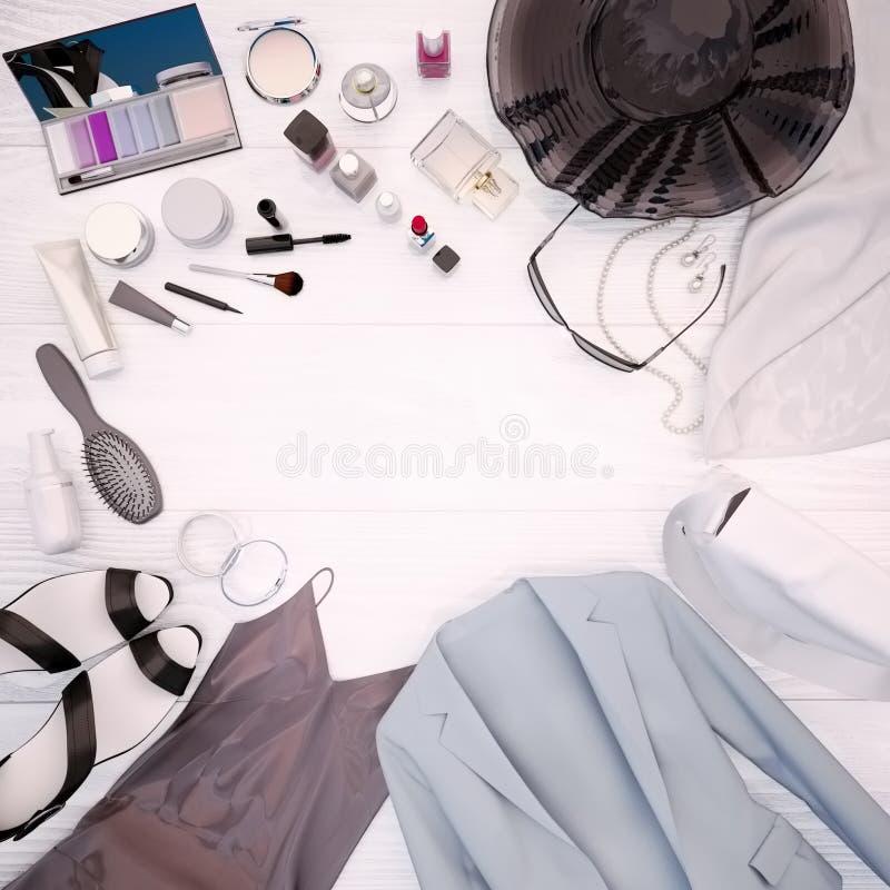 La ropa del ` s de las mujeres, el cuidado de piel y los cosméticos está situada en un blanco imagenes de archivo