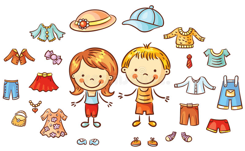 La ropa del verano fijada para un muchacho y una muchacha, artículos se puede poner ilustración del vector