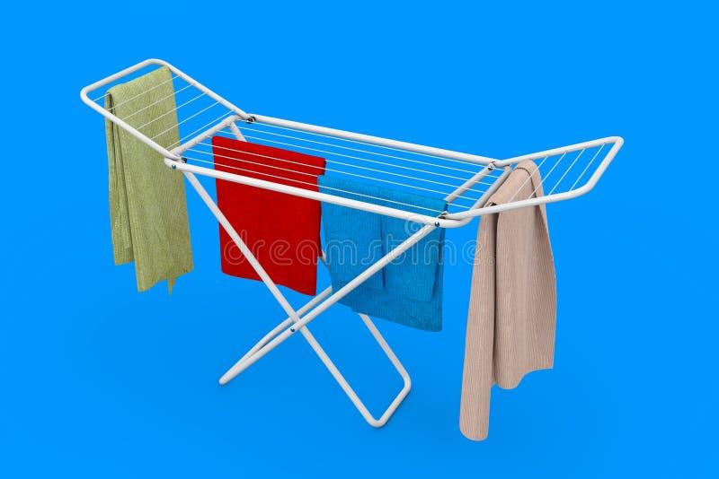 La ropa sobre el metal plegable blanco viste el secado del estante representaci?n 3d libre illustration