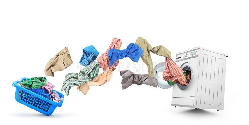 La ropa vuela de la cesta libre illustration