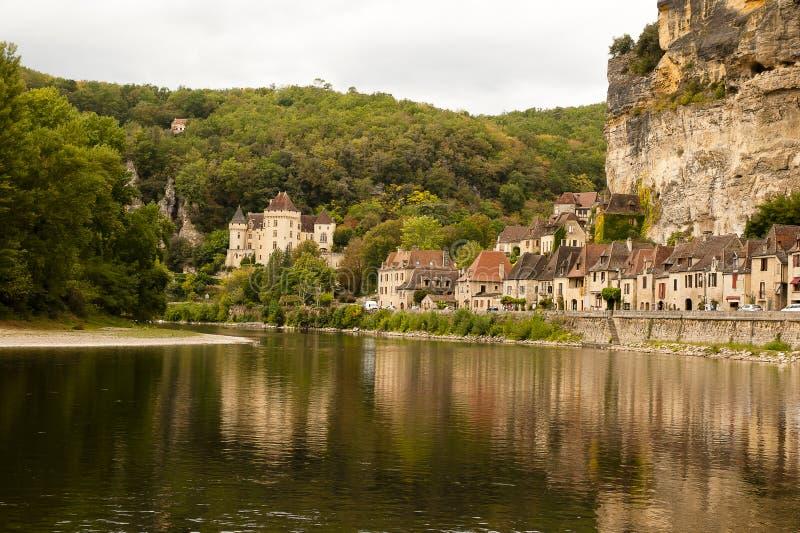 La Roque-Gageac et fleuve Dordogne image stock