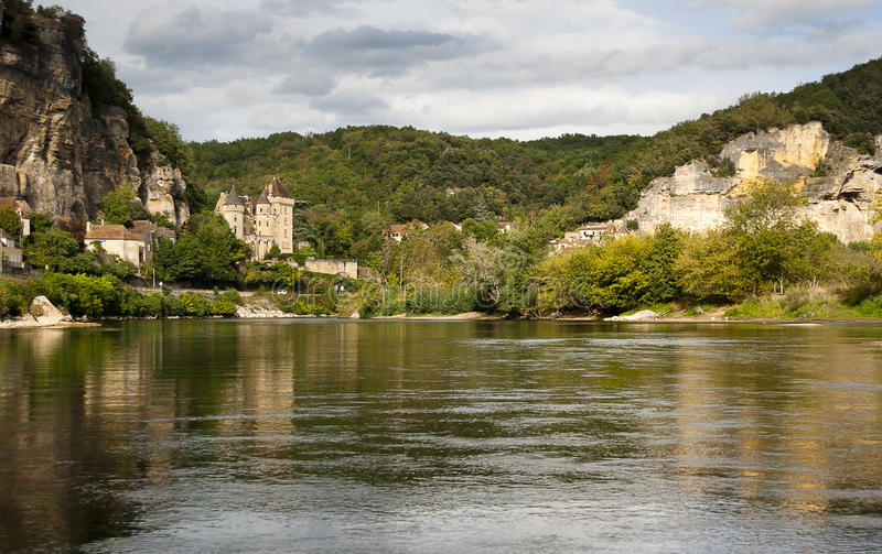 La Roque-Gageac and river Dordogne royalty free stock photography