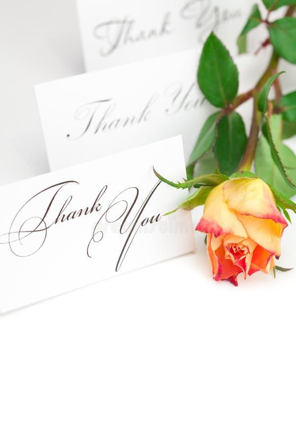 La rosa amarilla del rojo y una tarjeta le agradecen fotos de archivo