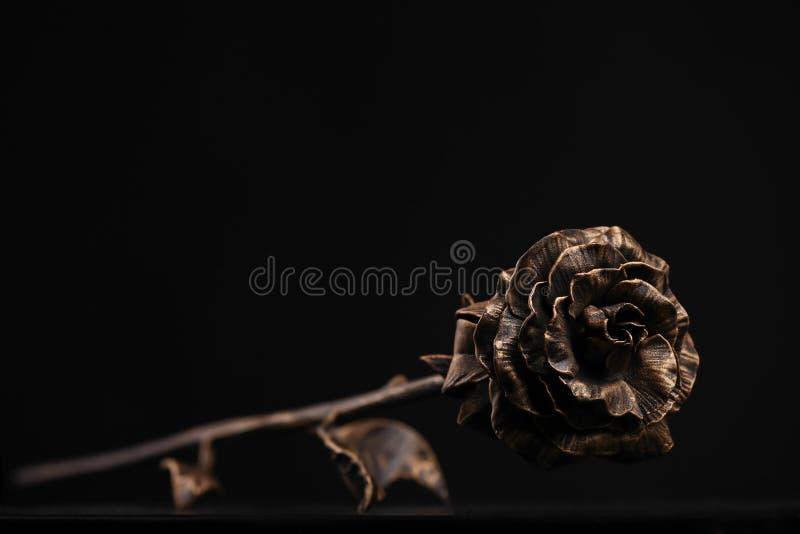 La rosa del color de bronce miente en una superficie del color negro fotos de archivo