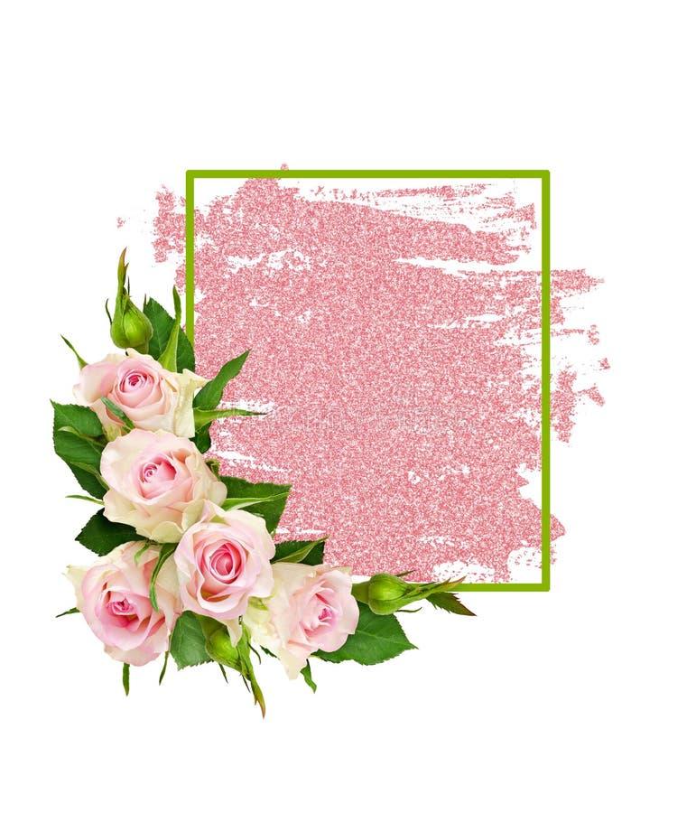 La rosa del rosa florece y un marco verde en pincelada del brillo imagen de archivo libre de regalías