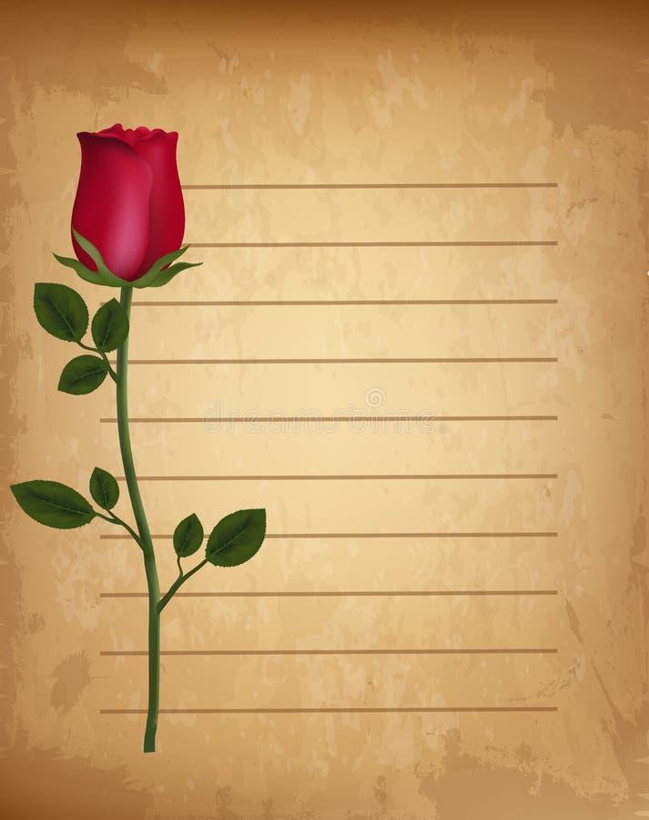 La rosa realista roja en viejo vintage alineó el contexto del pergamino del papel ilustración del vector