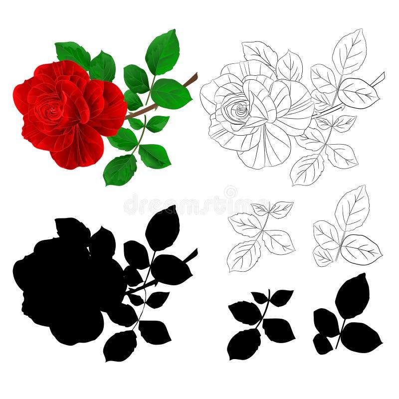 La rosa roja y las hojas de la flor naturales y resumen y siluetean el vintage en un ejemplo blanco del vector del fondo editable libre illustration