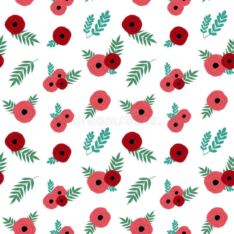 La rosa rossa semplice fiorisce con il seamle d'annata del modello delle foglie verdi royalty illustrazione gratis