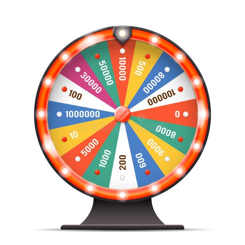 La rotazione di giro di lotteria del pattinamento di fortuna di fortuna del casinò prise l'illustrazione stratificata di vettore  illustrazione di stock