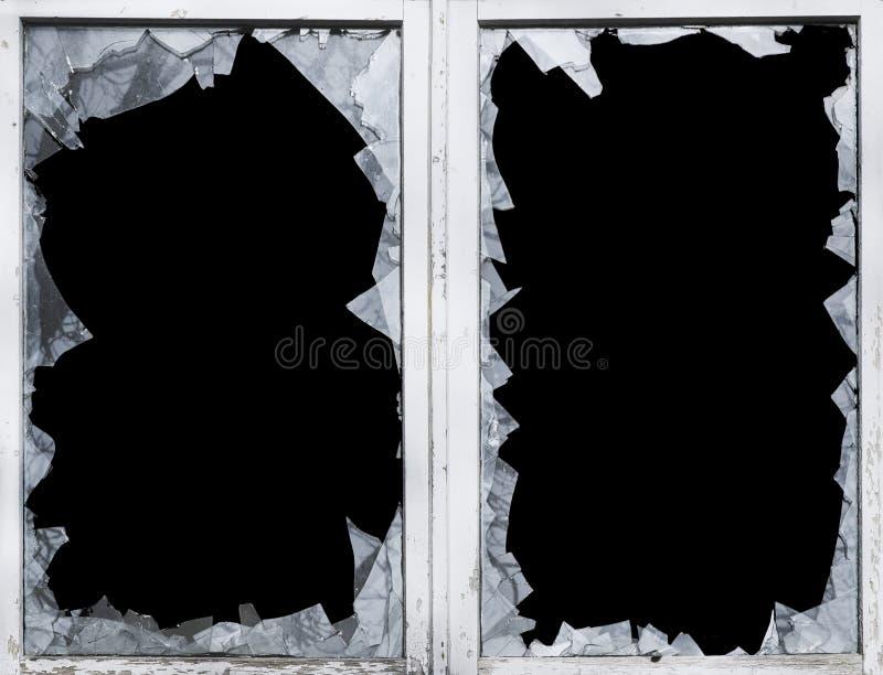 La rottura di vetro, coccio, ha fracassato, finestra, il pericolo fotografia stock