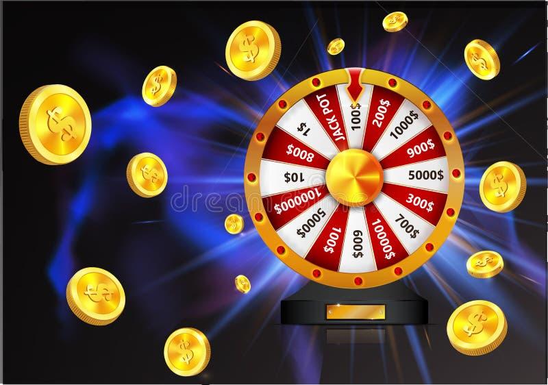 La roue de la chance avec des pièces d'or objectent, d'isolement sur le fond rougeoyant foncé illustration libre de droits