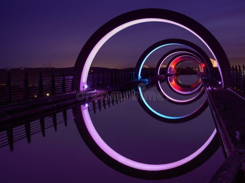 La roue de Falkirk la nuit images libres de droits