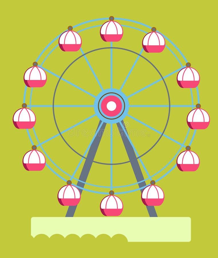 La roue de ferris énorme avec les carlingues rondes a isolé l'illustration illustration stock
