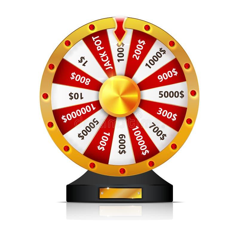 La roue de la fortune a isolé l'objet de vecteur sur le fond blanc illustration stock