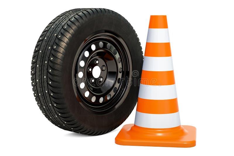 La roue de voiture avec l'hiver a clouté le pneu de neige et le cône du trafic 3d ren illustration libre de droits