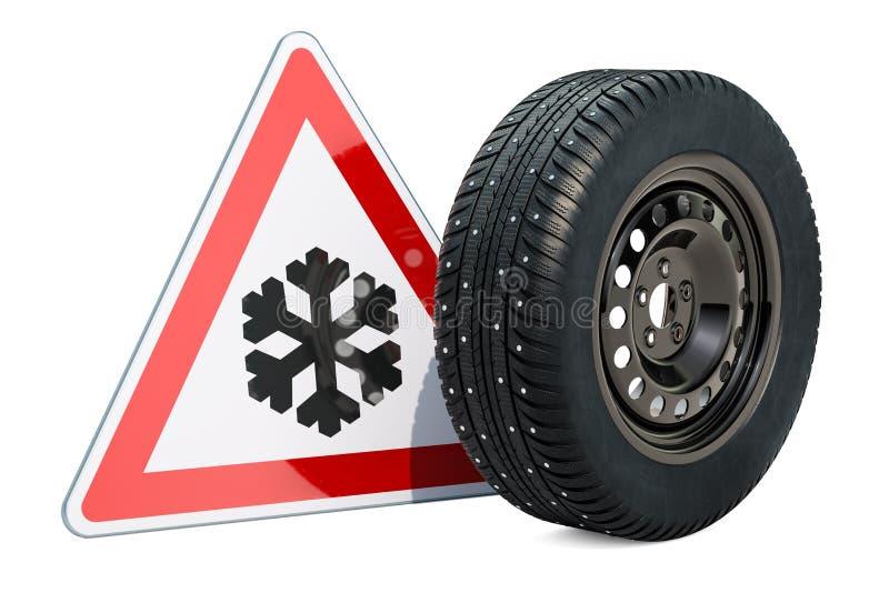 La roue de voiture avec le pneu de neige clouté par hiver et prennent garde de la glace ou du sno illustration stock