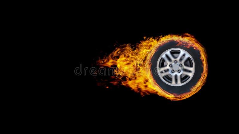 La roue ou le cercle de voiture a enveloppé en flammes d'isolement sur le backgr noir image libre de droits
