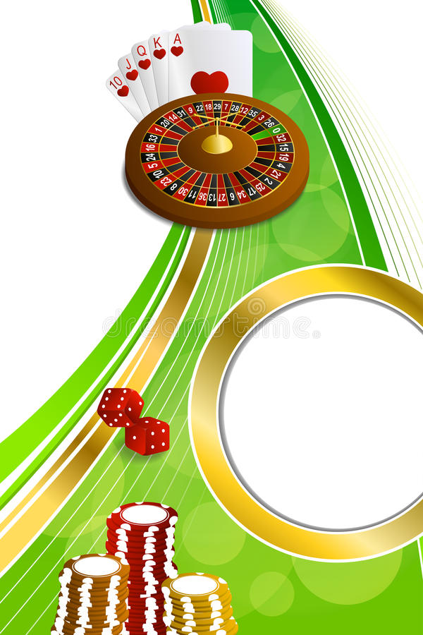 La roulette abstraite de casino d'or vert de fond carde l'illustration verticale de cadre de merdes de puces illustration libre de droits