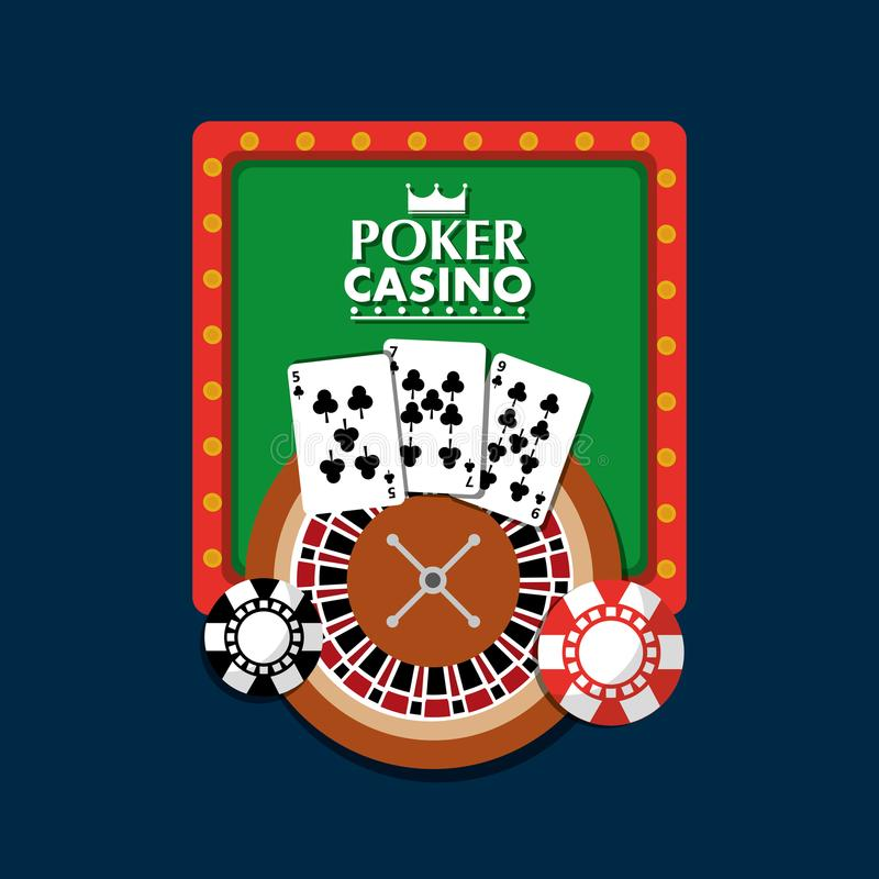 La roulette de jeu de club de lumière de panneau de casino de tisonnier carde la puce illustration stock