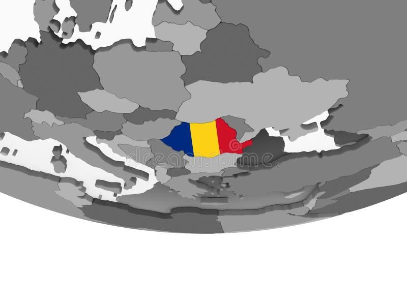 La Roumanie avec le drapeau sur le globe illustration stock