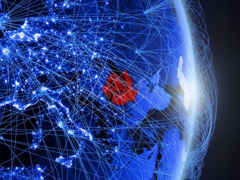 La Roumanie sur la terre numérique bleue bleue photos stock