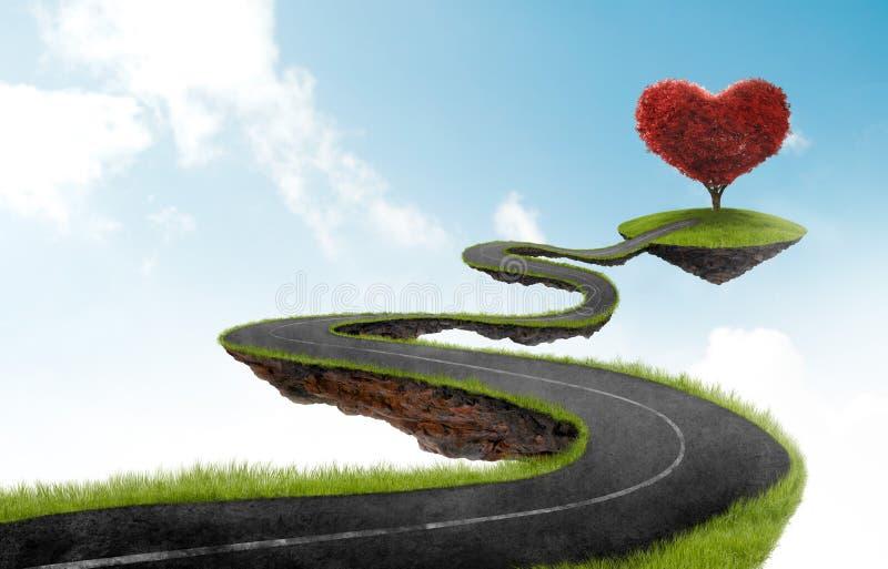 La route à l'arbre de coeur illustration stock