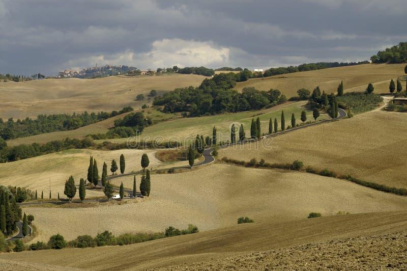 La route à Montichiello, Toscane photographie stock libre de droits