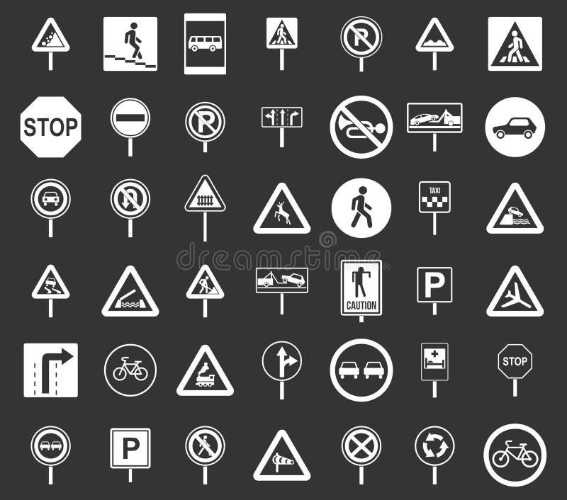 La route chante à icône le vecteur gris réglé illustration de vecteur