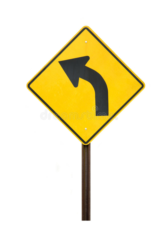La route courbe à gauche image stock