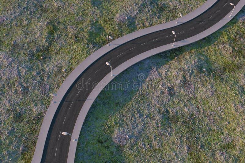 La route de ondulation dans les banlieues abandonn?es, rendu 3d illustration stock