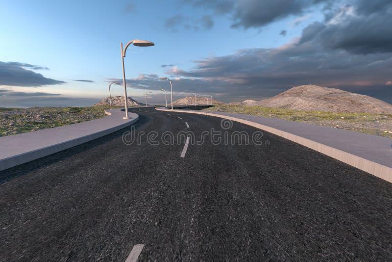 La route de ondulation dans les banlieues abandonn?es, rendu 3d illustration de vecteur
