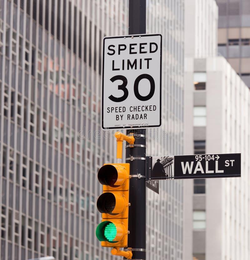 La route de Wall Street signent dedans l'échange courant de NY photographie stock libre de droits