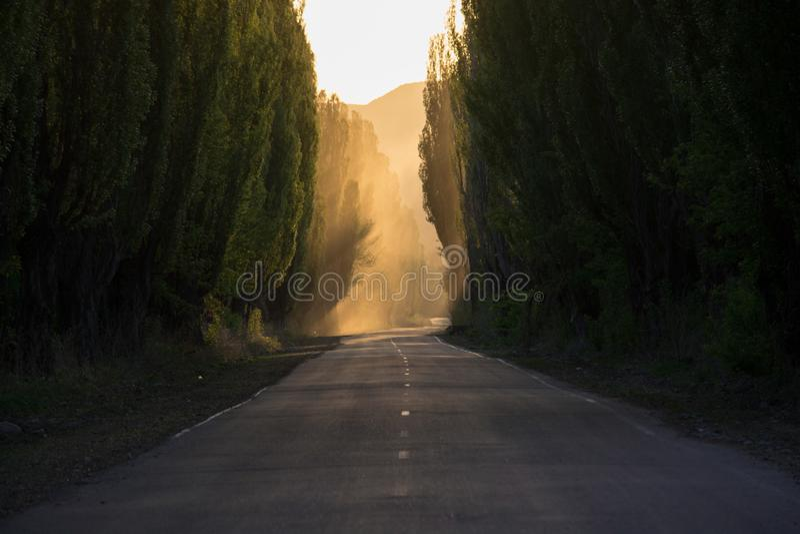 La route est tranquille Fumée perspective image stock