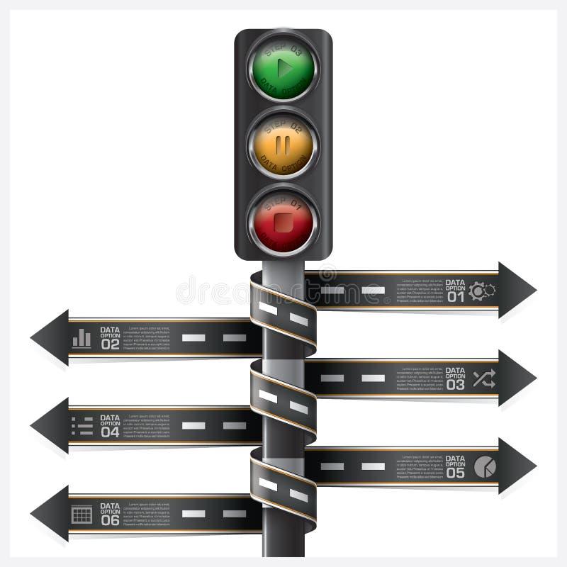 La route et la rue avec le feu de signalisation signent l'étiquette en spirale Infogra de flèche illustration de vecteur