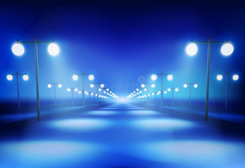 La route pendant la nuit Illustration de vecteur illustration libre de droits