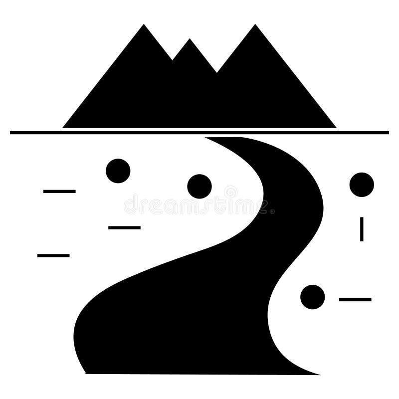 La route s'enroulant aux montagnes icône, illustration de vecteur, se connectent le fond d'isolement illustration de vecteur