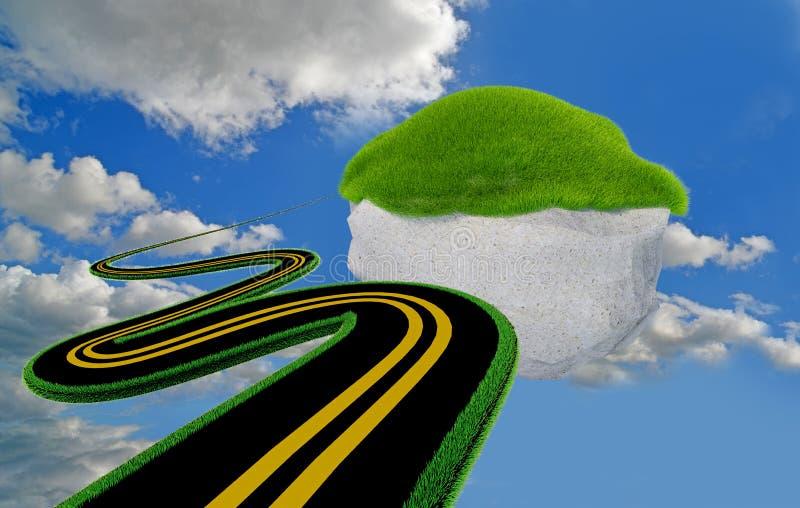 La route tourne l'herbe d'isolement à l'arrière-plan blanc - le rendu 3d illustration de vecteur