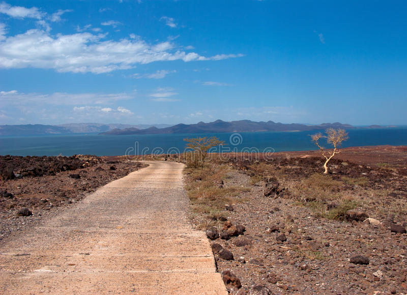 La route vers le lac, Kenya photographie stock libre de droits