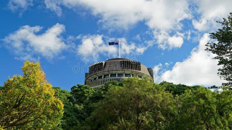 La ruche au-dessus des arbres - bâtiment du parlement du Nouvelle-Zélande photo libre de droits