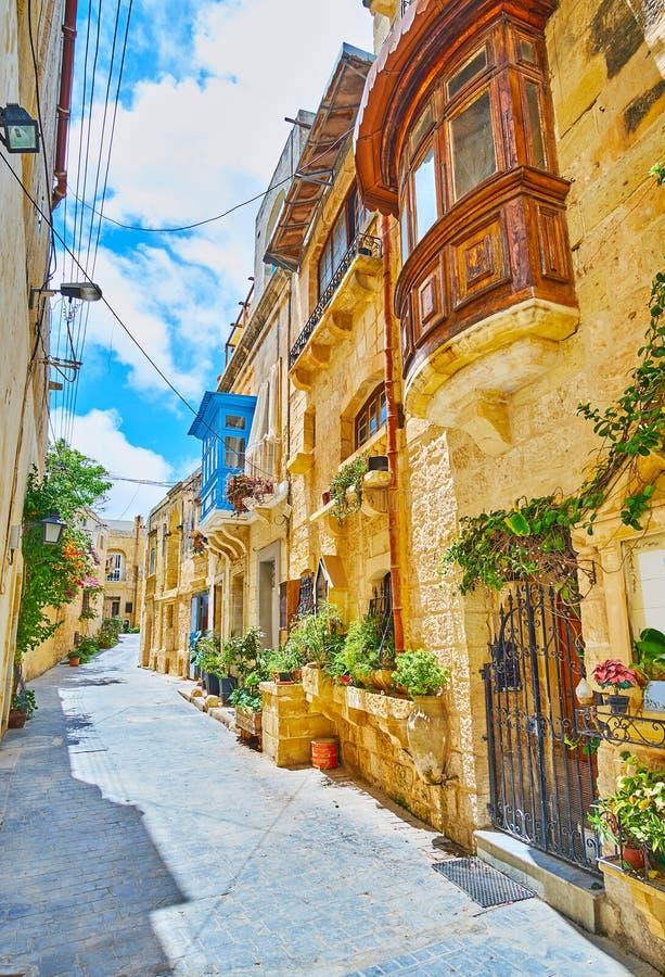 La rue étroite à vieux Rabat, Malte photos stock