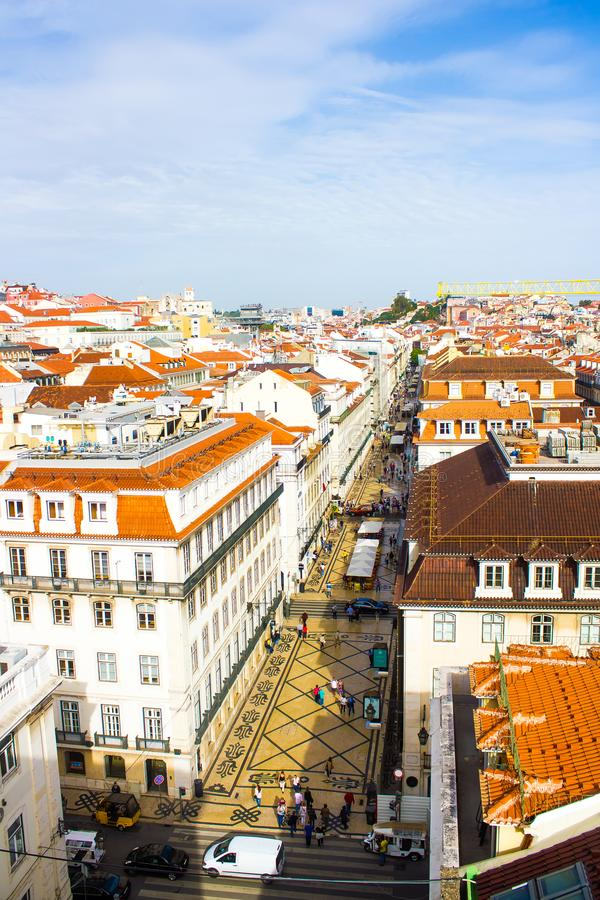 La rue célèbre et populaire Augusta, Lisbonne du centre, Portugal de Rua photo stock
