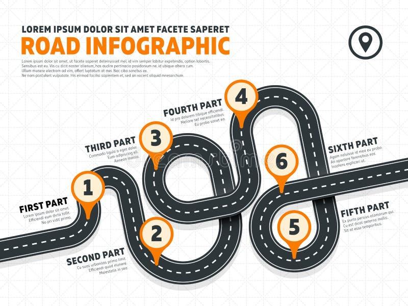 La rue, calibre d'infographics de vecteur de vente d'affaires de route avec la goupille signe illustration de vecteur