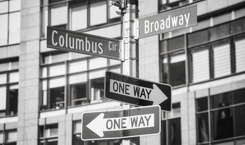 La rue de Broadway et de Columbus Circle appellent des signes, New York photographie stock libre de droits