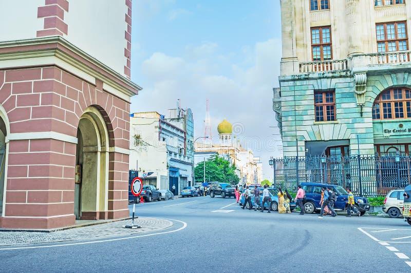 La rue de Chatham à Colombo photo stock