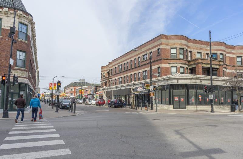 La rue de la chaussette avec des losanges Chicago, Etats-Unis image stock