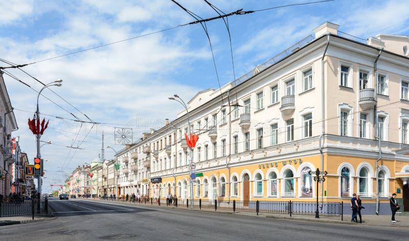 La rue de Sovetskaya dans Gomel est l'une des rues principales de transport de la ville Presque chaque bâtiment est un monument a photo stock
