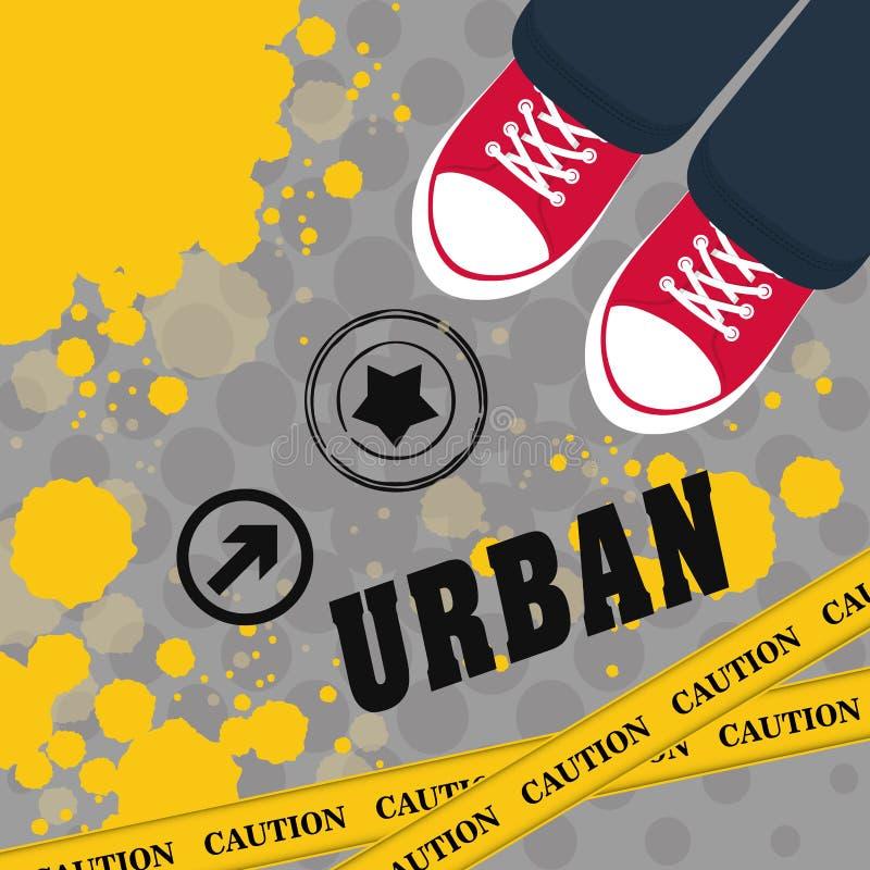 La rue et le style urbain conçoivent, dirigent l'illustration illustration libre de droits